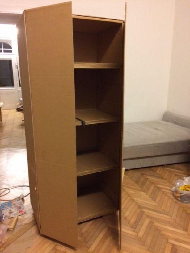 Ikea Hack Cupboard From The Box The Sofa Came In Furnituredesigns In 2020 Cardboard Furniture Diy Cupboards Diy Home Furniture