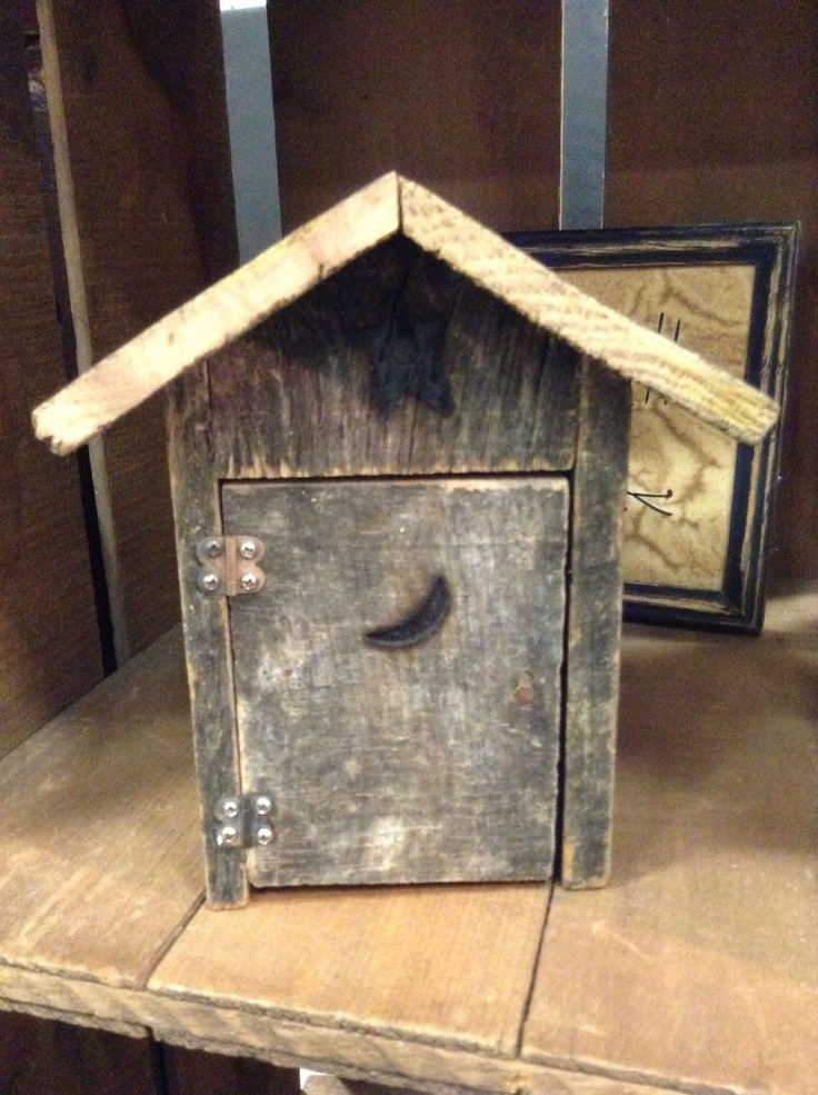 Mini outhouse....it's a one holer! Great decor for an outhouse ...