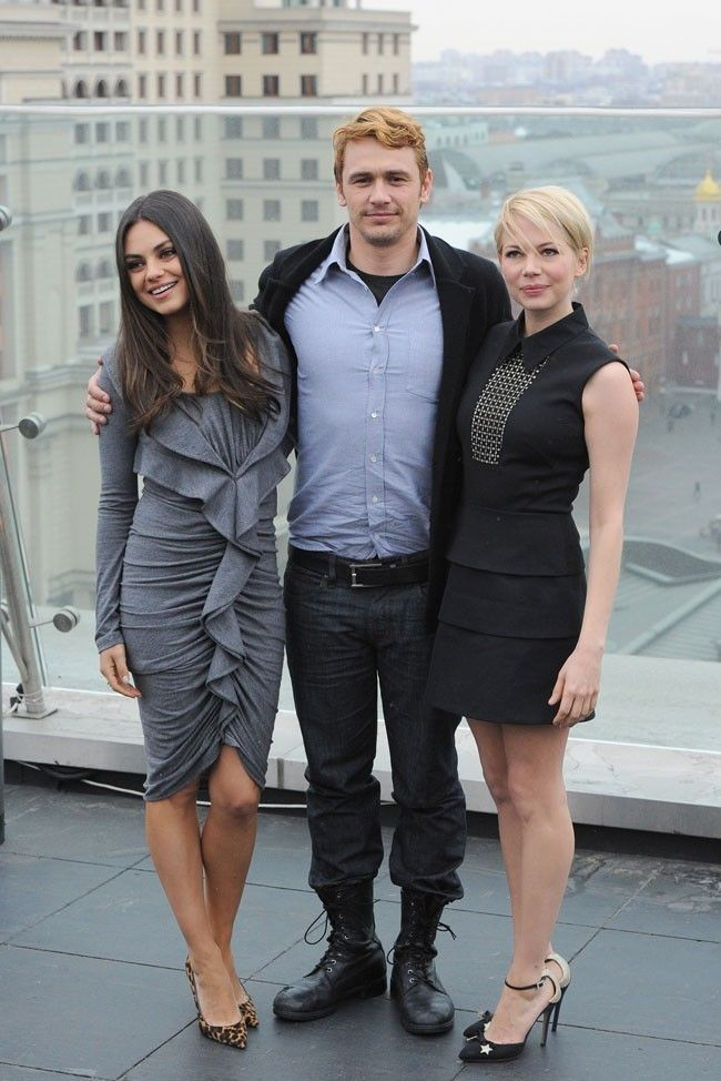 Mila Kunis, James Franco et Michelle Williams le 27 février 2013 à Moscou