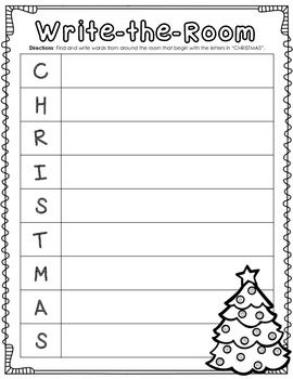 This Christmas Write-the-Room activity works great as a center or as a whole class activity to encourage students to be aware of the print that is around them!