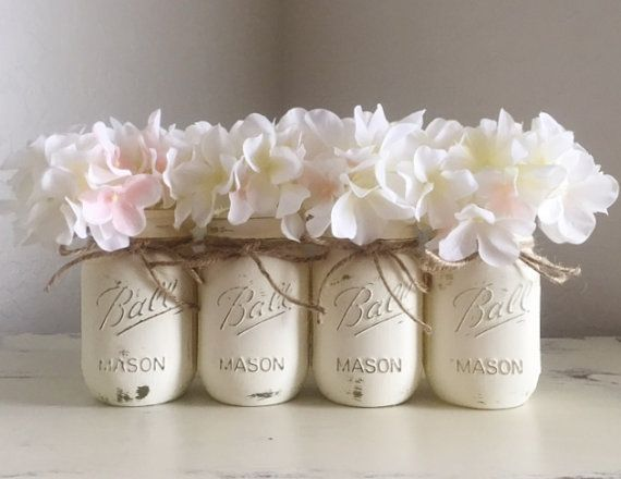 White / Cream Distressed Mason Jars, Rustic Nursery, Baby Shower Gift, Rustic Decor, Wedding Mason Jars, Painted Mason Jars, Shabby and Chic