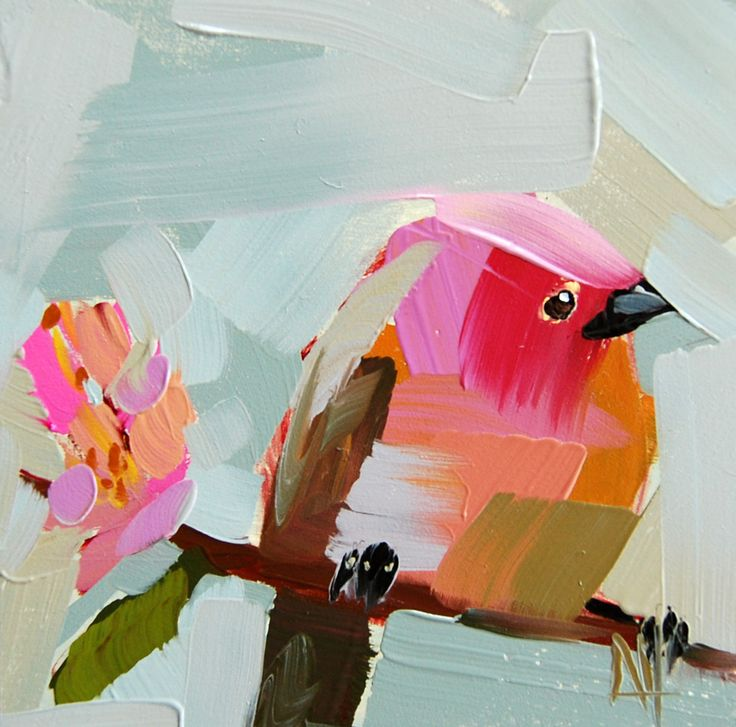 Rose Finch no. 19 original bird oil painting by Angela Moulton