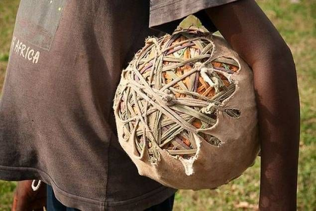 Not a galimoto (home made toy vehicle) but the soccer ball made by children from scrap material in every African country