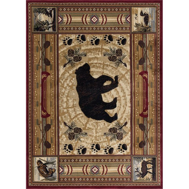 Give a stylish makeover to your rooms with the Threadbind Bear Motif Novelty Rug. This rug features a hunting and lodge theme. It has motifs like bear, moose, and fish. This novelty rug is an excellent choice for a traditional room setting. Made from polypropylene, this rug is durable. It has a jute backing. This multicolored rug is stain resistant and fade resistant. Vacuum clean this rug regularly to keep it dust-free. You can also spot clean it by spot cleaning using a mild soap solution…