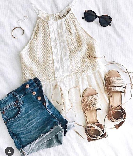 93f69747dc Cream top & lace-up sandals, denim shorts | Women Fashion ...