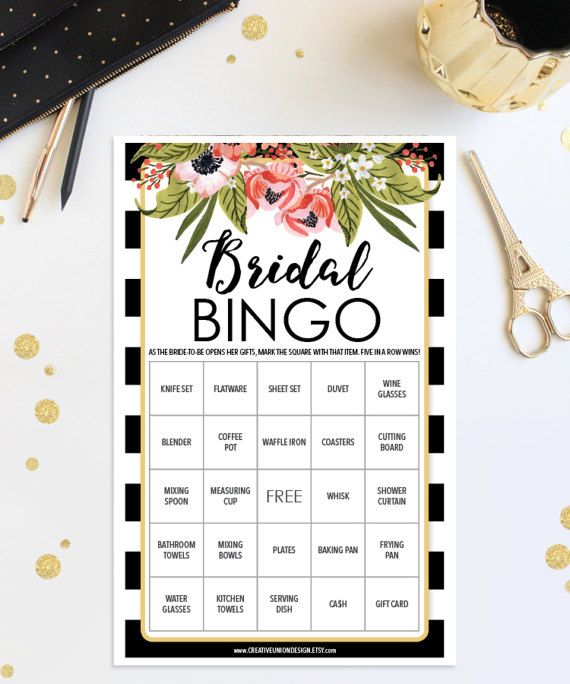 Bridal Shower Game s - Bridal Shower Ideas - Kate Spade Inspired Shower - Bridal Shower Bingo by CreativeUnionDesign