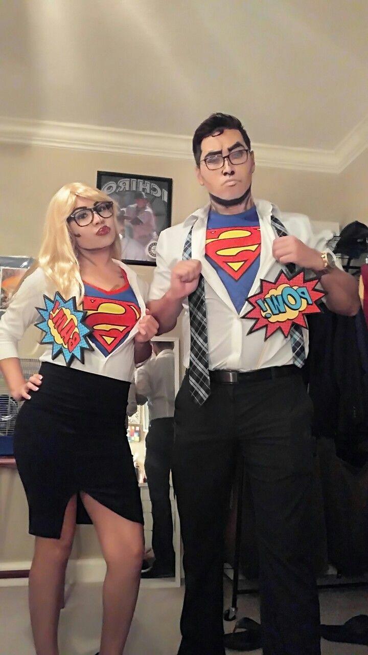 Couples costume#DIY#Comic pop art#superman#supergirl