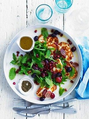 Neil Perry's warm haloumi salad with pomegranate and lemon dressing.