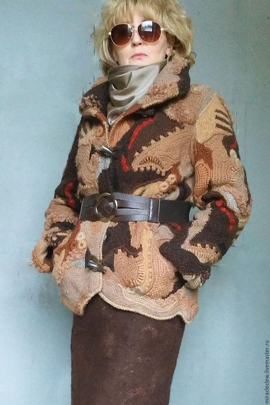 Верхняя одежда ручной работы. Ярмарка Мастеров - ручная работа. Купить Зимняя вязаная куртка в стиле фриформ, пэчворк, бохо. Handmade.