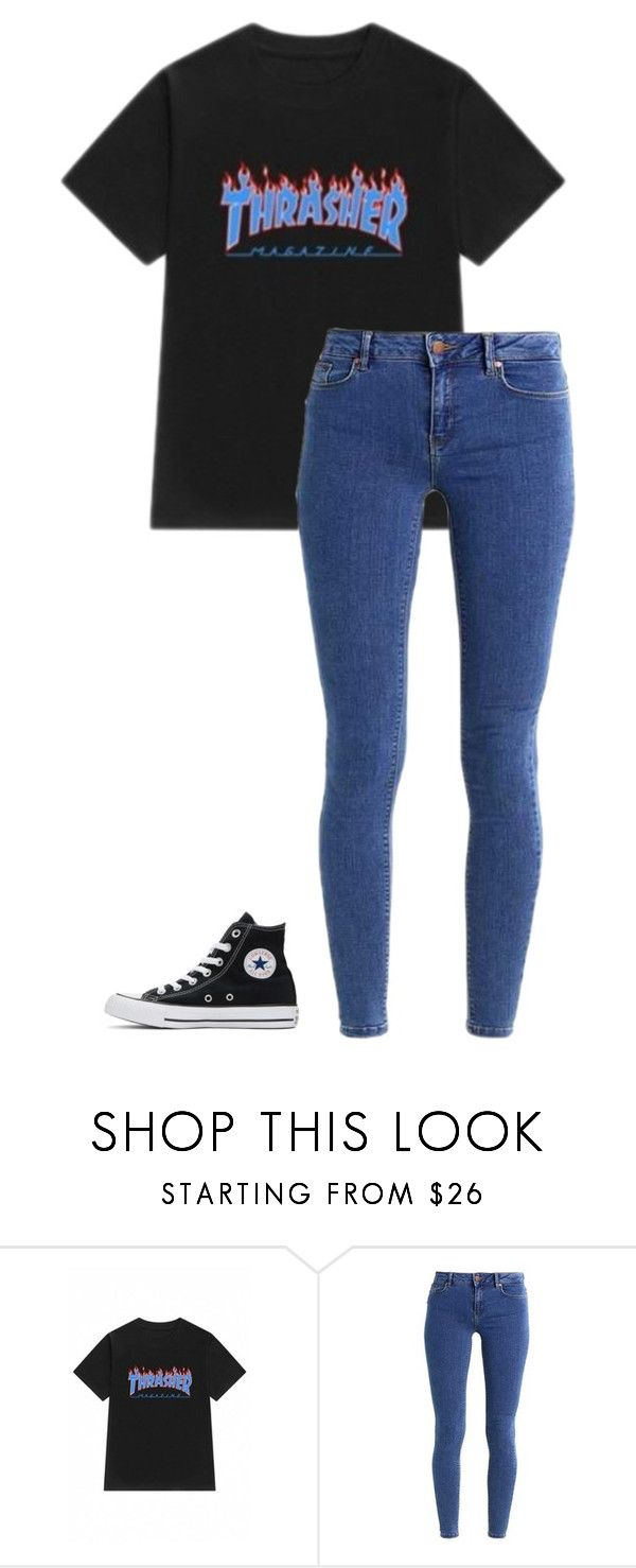 """""""Thrasher pt. 2"""" by ifrancesconi on Polyvore featuring WithChic, even&odd and Converse"""