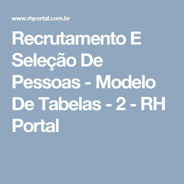 Recrutamento E Seleção De Pessoas - Modelo De Tabelas - 2 - RH Portal