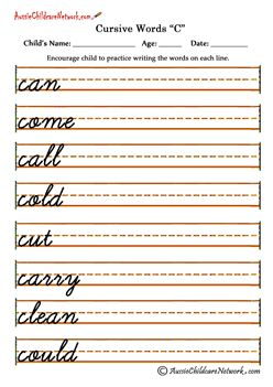 cursive writing worksheets c c parenting cursive words cursive writing worksheets. Black Bedroom Furniture Sets. Home Design Ideas