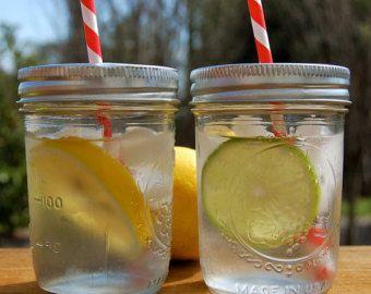 Tapas de tarro de masón beber / listo para tu paja / Set de 25