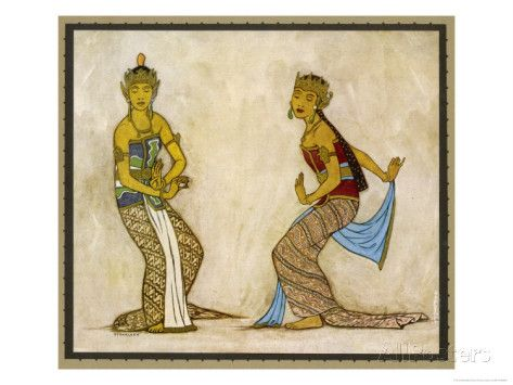 Two Royal Court Dancers Performing the Female Style of Javanese Dance Giclee Print by Tyra Kleen at AllPosters.com