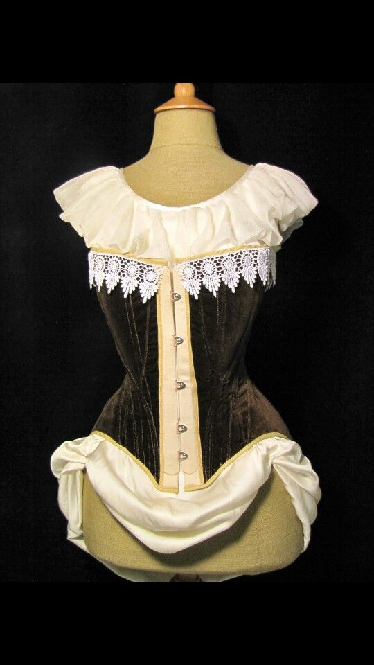 Edwardian velvet corset made by me. White tea lace in the top edge.