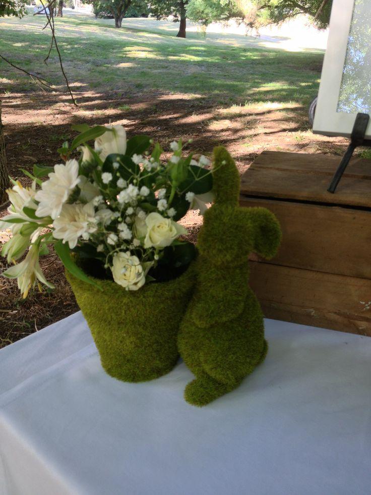 hello cute rabbitt - moss rabbitt with flowers