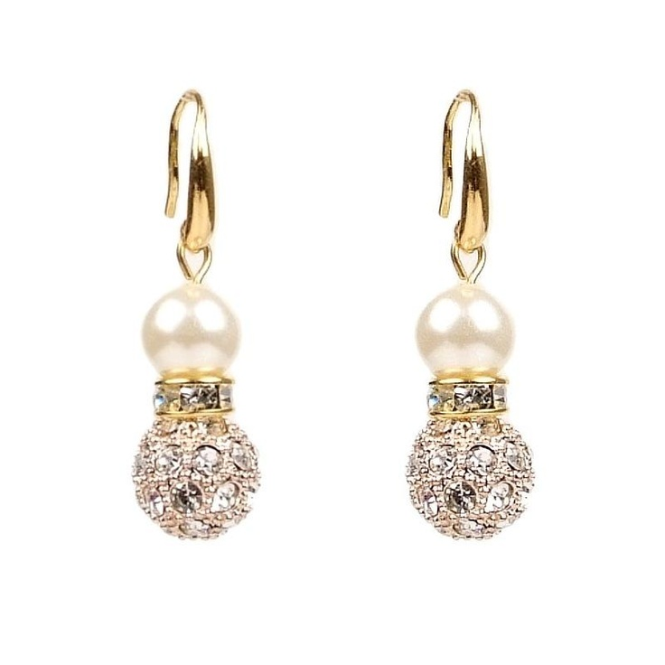 Mikey London Gold Crystal Pearl Earrings £19