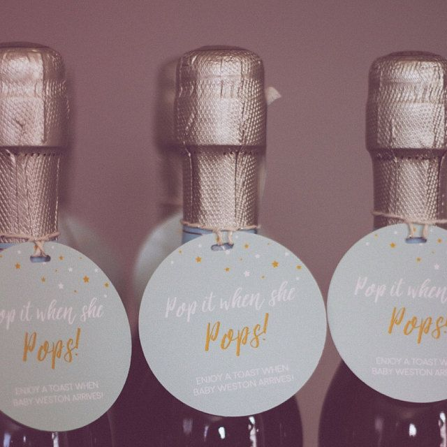 Champagne Baby Shower Favor Tags Pop It When She Pops