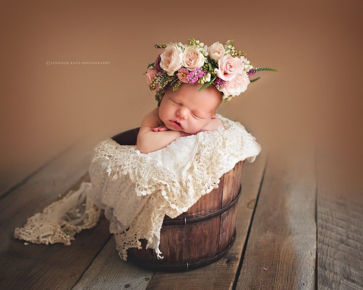 Image by Jennifer Kaye Photography, flowers by Kio Kreations  floral crown, newborn photos, newborn in flowers, floral wreath on baby, baby with flowers, floral halo baby newborn photography