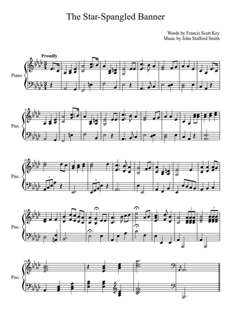 star spangled banner sheet music piano pdf