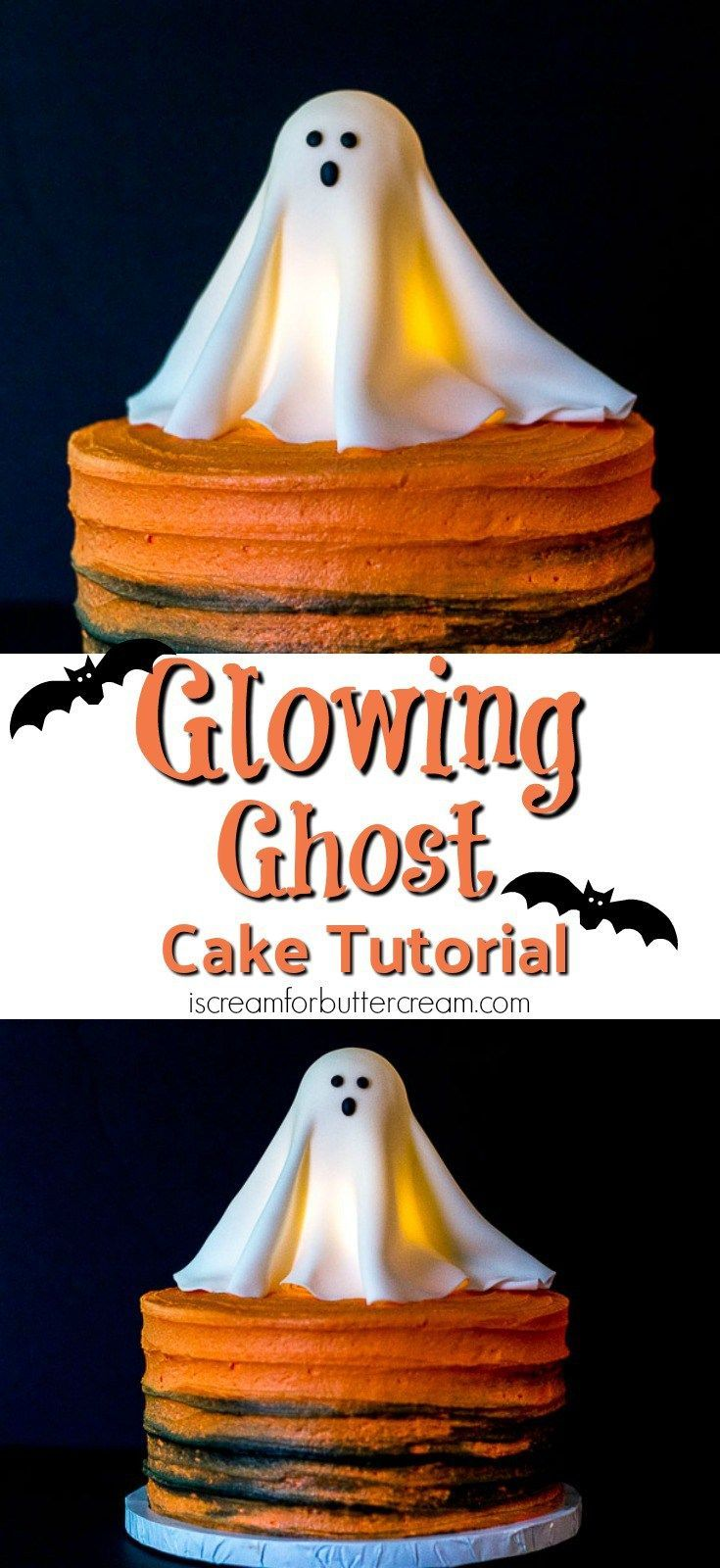 This Halloween, go all out with this Glowing Ghost Cake. It's a real show stopper that looks hard to make, but is surprisingly easy. It's really eye-catching and the kids will love it. And yes, it's really lit from within. #Halloweencakes