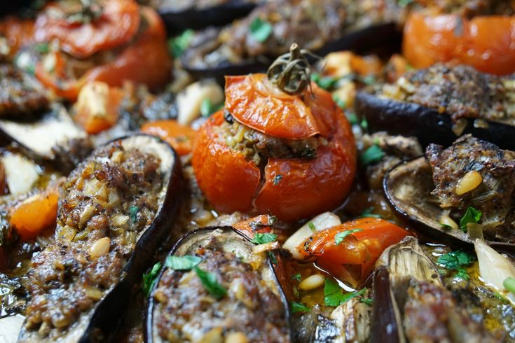 """Tomatoes and Eggplant """"Boats"""" with Ground Lamb in a Hot Tomatoes Sauce"""