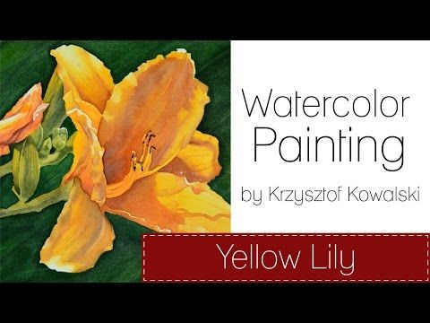 Watercolor painting - Yellow lily - YouTube