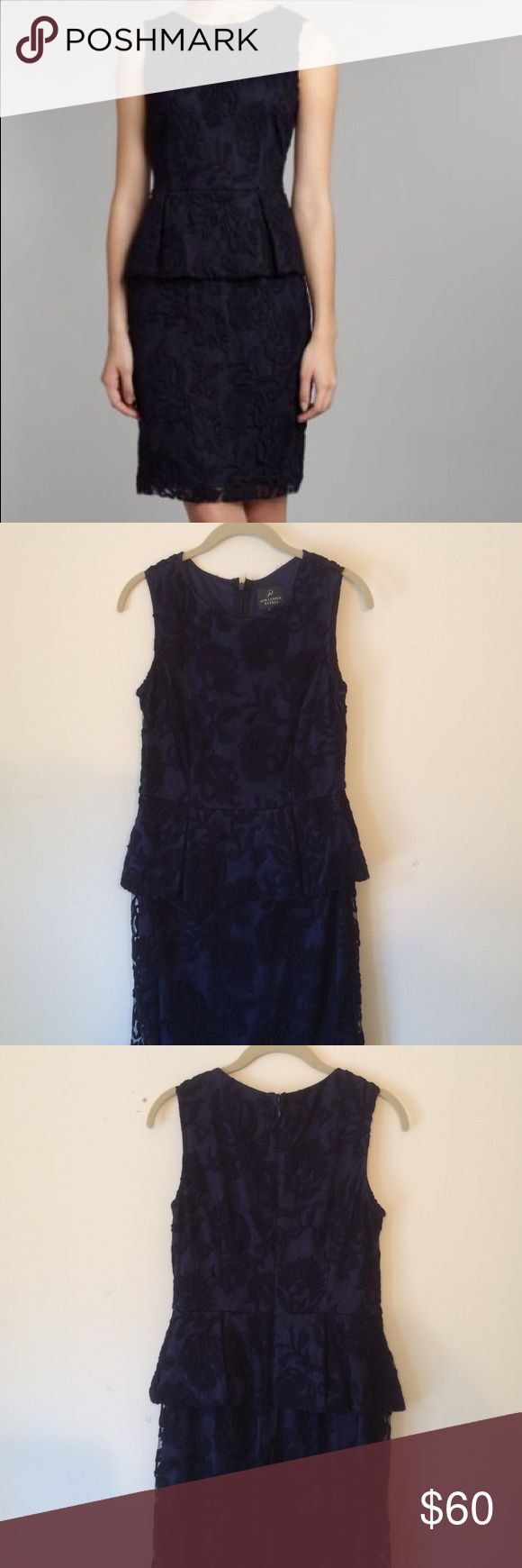 Adrianna Papell Navy Cocktail Dress Navy sheath dress with subtle peplum waist. Lace shell over navy liner. Hits above the knee. Very pretty but no longer fits due to...late in life growth spurt. Adrianna Papell Dresses