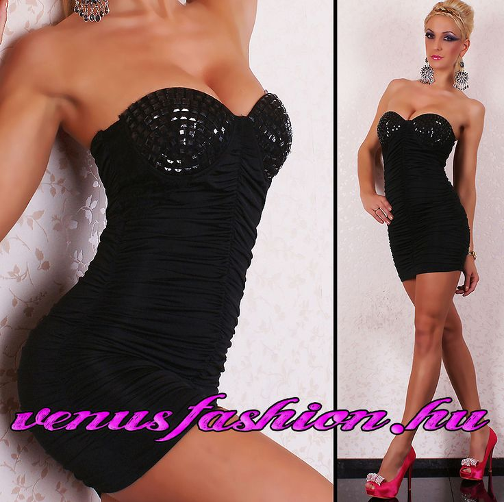 Divatos fekete ujjatlan női push up miniruha - Venus fashion női ruha webáruház