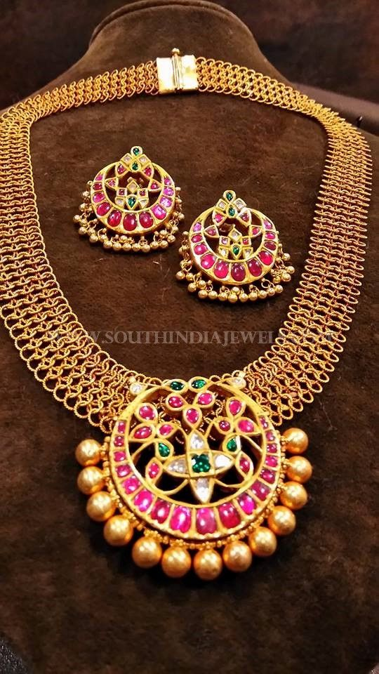 130 Gram Gold Antique Ruby Necklace Designs, Gold Ruby Necklace With Weight Details.