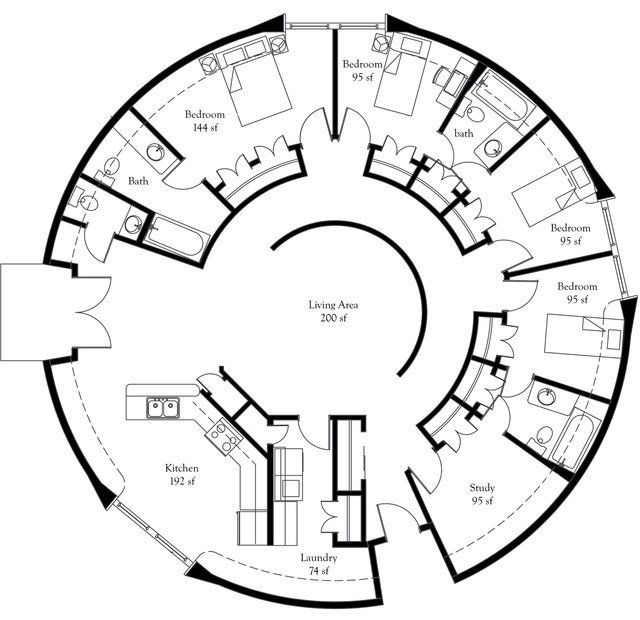 Convert at least one bedroom a perfect eco friendly for Circular house floor plans
