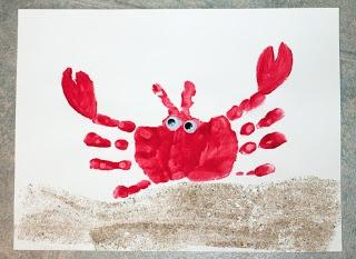 Handprint Crab Craft #ArtsAndCrafts #Crafts #KidsCrafts #DIY #Handprints #Crabs #Summer #Animals