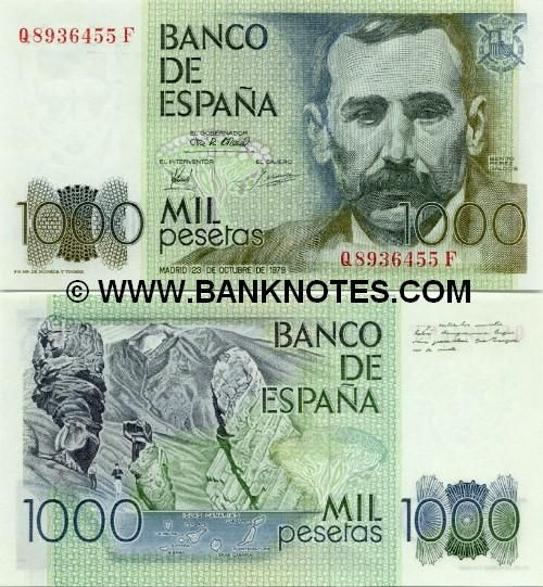 spain currency | Spain 1000 Pesetas 1979 - Spanish Currency Bank Notes, Paper Money ...PESETAS y no EUROS, nos hemos quedado más podre que ratas.