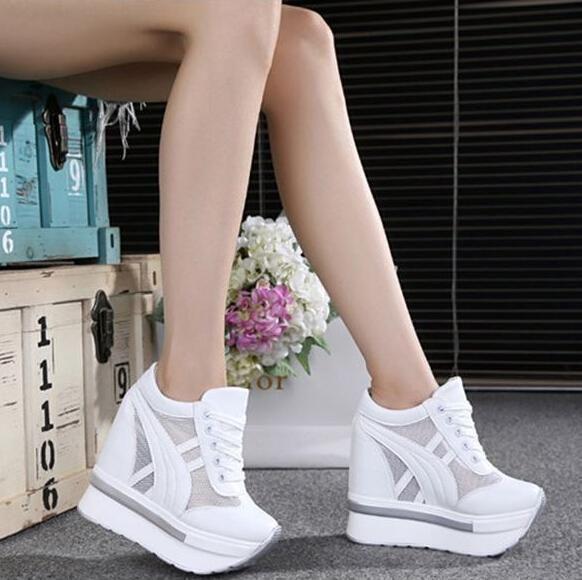 Women Hidden Wedge High Heel Sneakers Lace Up Mesh Platform Sports Shoe Hot!