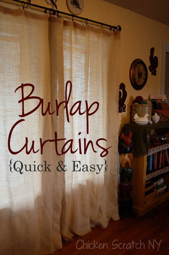 Burlap Curtain Panels certainly win the price category.  Pretty good idea too for a cabin or woodsy den.