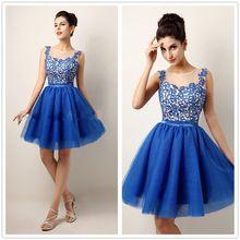 gratis verzending mouwloze elegante koningsblauw kant korte homecoming jurken speciale gelegenheid jurken knielengte feestjurk(China (Mainland))