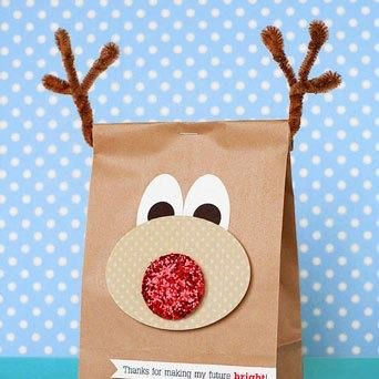 diy preschool christmas decorations | DIY Christmas Reindeer Treat Bag for Preschoolers - lilsprinkles.com