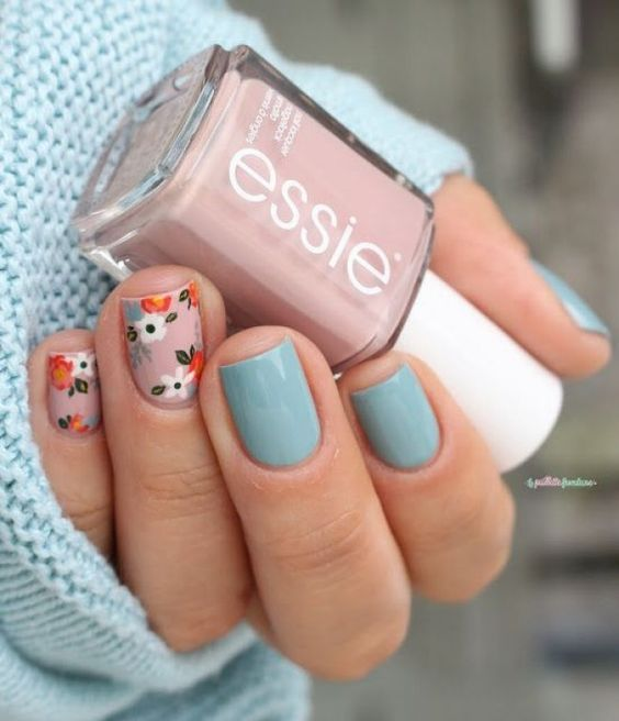 Pale Blue Nails with Flowers