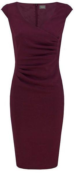 Alexon Maroon Crepe Wrap Dress