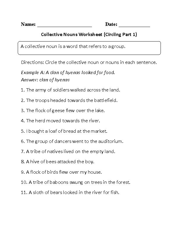 Collective Nouns Worksheet Circling Part 1 Beginner