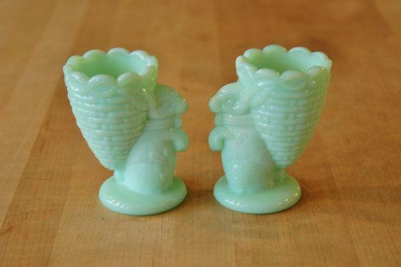 Pair Fenton Jadeite Rabbit Egg Cups Jadite by CobblestonesVintage
