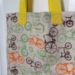 Flannelette Ride-My-Bike Tote/Library Books Bag/Carry All - by OneBusySloth on madeit