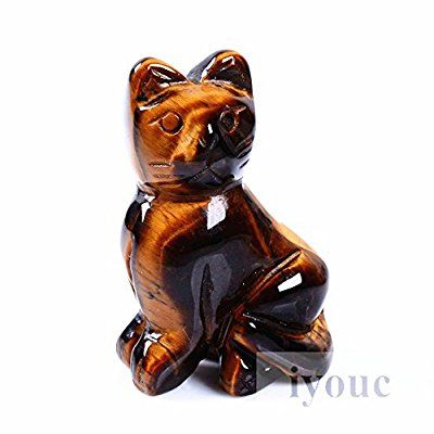 """40mm Hand Carved Tiger's Eye Gemstone Cat Figurine Statue Stone Carving 1.6"""""""