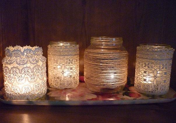 lace mason jars for center pieces