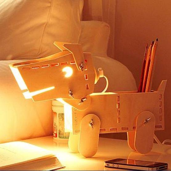Затемнения лампы свободно DIY деревянные щенка светильник детское подарок любовника подарок затемнения обучения ящик для хранения собака настольная лампа