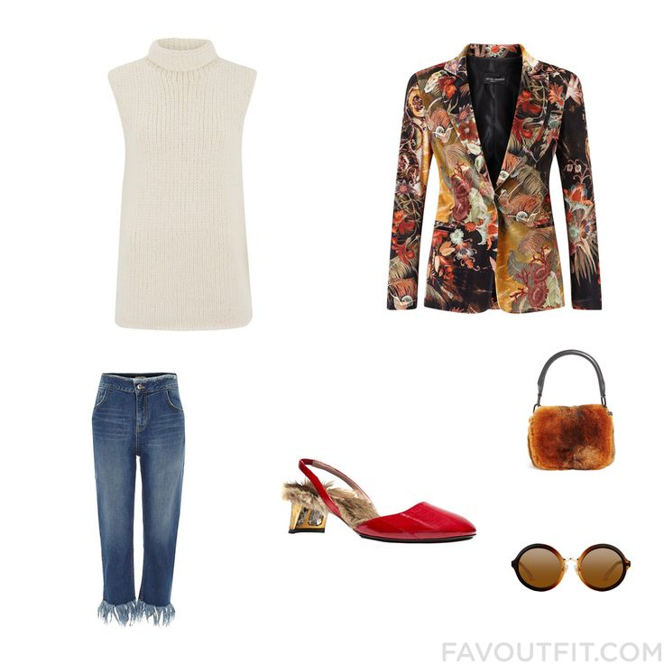 Fashion Trick Including Theory Sweater Velvet Jacket River Island Jeans And Sling Back Pumps From October 2016 #outfit #look