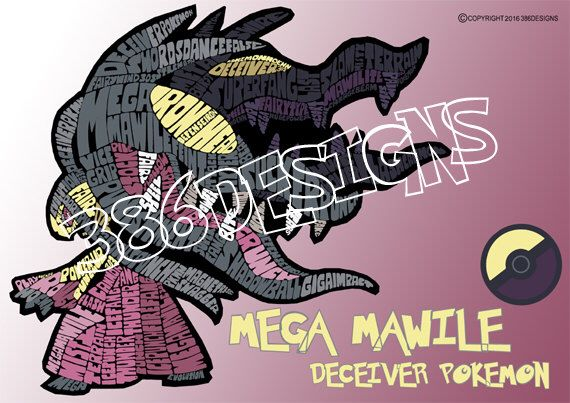 A personal favourite from my Etsy shop https://www.etsy.com/au/listing/250485479/mega-mawile-word-art-print