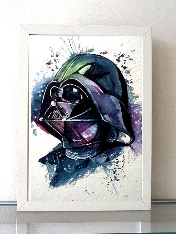 Darth Vader colorful Watercolor art Print Empire Star por ILoresart
