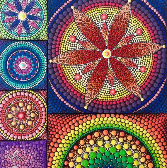 Original Red Flower Mandala Painting on Canvas by CreateAndCherish