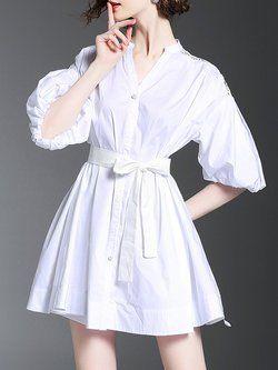 Vestido branco da camisa da luva do balão do colar do suporte